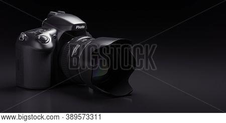 Professional digital photo camera on black background.  3d illustration