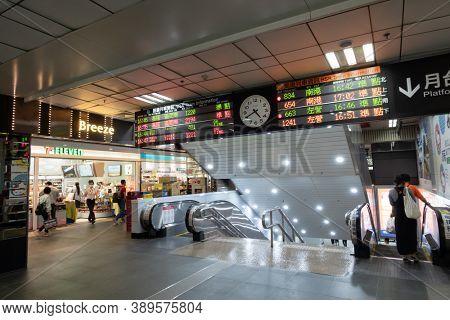 Taipei, Taiwan - Oct 1st, 2020:  interior of Taipei main station, Taipei, Taiwan