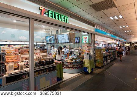 Taipei, Taiwan - Oct 1st, 2020:  convenience stores of 7-11  of Taipei main station, Taipei, Taiwan