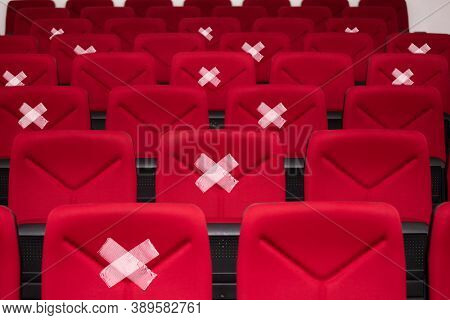 Alternative seating marks for social distancing in the cinema to protect from Corona Virus(COVID-19), social. New normal lifestyle