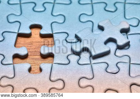 Jigsaw puzzle with one piece missing only, easy task to complete