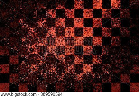 Orange Black Brown Checkered Background With Blur, Gradient And Grunge Texture. Space For Graphic De