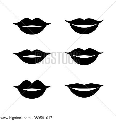 Black And White Set Of Different Male And Female Happy Lips. Asian, European, African Cartoon Simple