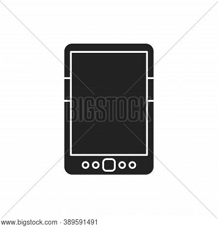 Digital Tablet Black Glyph Icon. Innovation Technology. E-learning Reading On Electronic Touch Scree