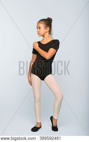 Little Girl Study Dancing In Dance School. Little Girl Have Dance Lesson. Grace And Beauty. She Is I