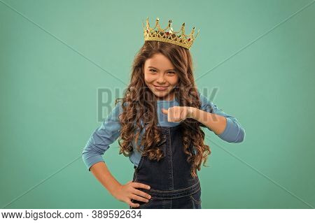 I Am The Best. Kid Wear Golden Crown Symbol Princess. Every Girl Dreaming Become Princess. Lady Litt
