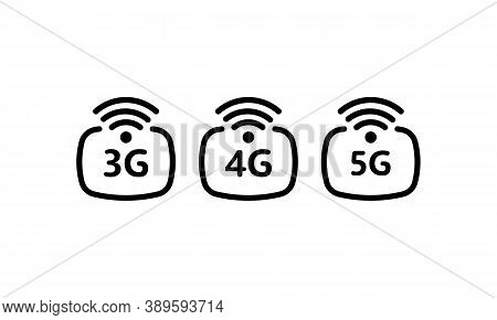 3g, 4g, 5g Icon In Black. Connection Network. Vector Eps 10. Isolated On White Background