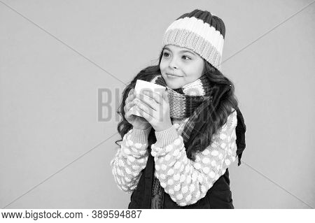 Pleasant Sip. Kid Winter Fashion. Child Warm Knitwear. Have Warming Drink. Drinking Hot Cocoa. Hot C