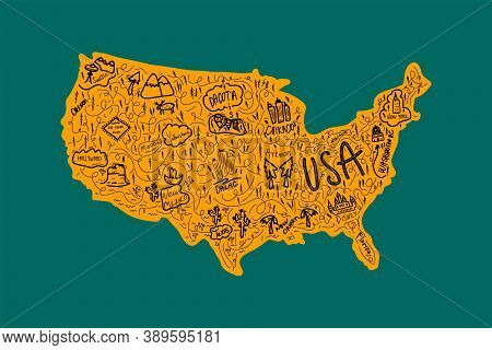 A Hand - Drawn Illustration Of A Map Of The United States With State Names. The Concept Of Traveling