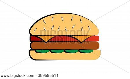 Appetizing Burger With Filling On A White Background, Vector Illustration. Vegetarian Burger With So