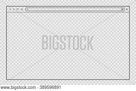 Transparent Browser Window. Isolated Thin Outline Web Frame. Editable Background. Blank Network Page