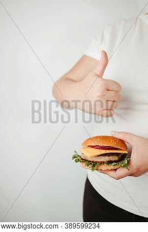 Balanced Ration, Diet, Counting Calories. Fast Food And Unhealthy Snacks. Low Calorie Meals. Overwei