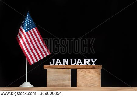 Wooden Calendar Of January With Usa Flag On Black Background. Holidays Of The United States Of Ameri