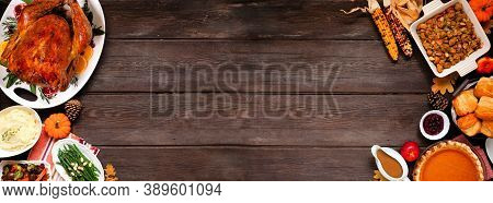 Traditional Thanksgiving Turkey Dinner. Top View Double Border On A Dark Wood Banner Background With