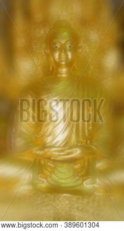 Defocused Image. Buddhism Statue, Religion Buddhism. Vesak Day Concept