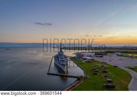 The Uss Alabama Battleship At Sunset In October 2020