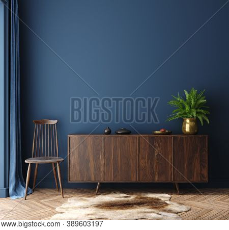 Commode With Chair And Decor In Living Room Interior, Dark Blue Wall Mock Up Background, 3d Illustra