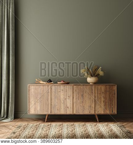 Commode With Decor In Living Room Interior, Dark Green Wall Mock Up Background, 3d Illustration