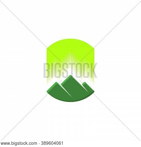 Silhouette Logo Of Three Mountains With Green Aurora On Them