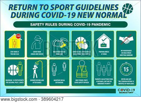 The Sport Guidelines Safety Rules Poster Or Public Health Practices For Covid-19 Or Health And Safet