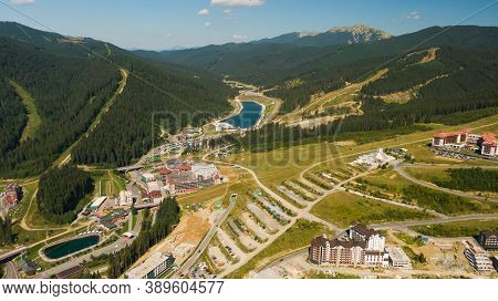 Mountain Valley Resort Landscape View. Mountain Ski Resort In Summer. Mountain Resort Valley Landsca