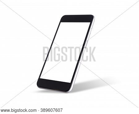 Black Modern Smartphone Mockup. Mobile Smart Phone Technology Front Blank Screen Studio Shot Isolate