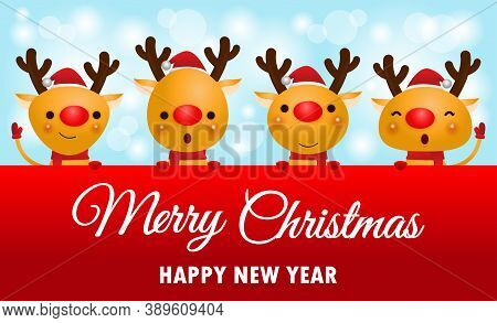 Merry Christmas And Happy New Year, Cheerful Group Of Reindeer Wearing Christmas Hats Holding Big Si
