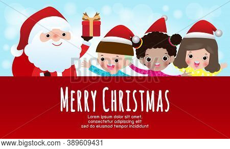 Merry Christmas And Happy New Year Poster, Cheerful Group Of Children Wearing Christmas Hats And San
