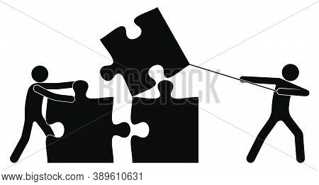 Teamwork. Two People, Stick Figure Build Together With Puzzle Pieces. Solving Common Problem By Join