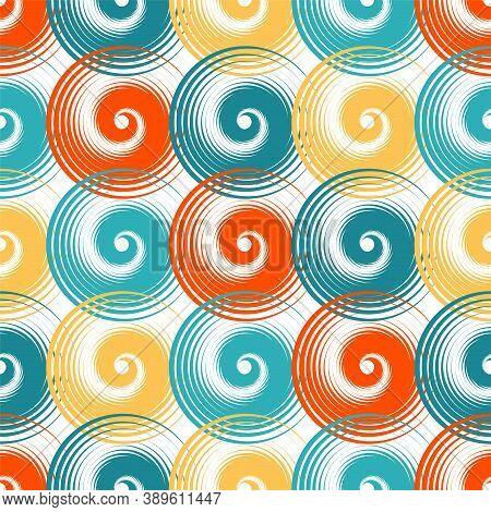 Spiral Swirls Summer Seamless Pattern Vector Design. Round Spiral Scrolls, Circle Swirls Geometric E