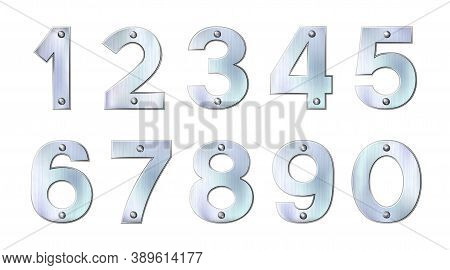Set Of Sanded Metal Or Silver Numbers. Realistic Plates With Rivets Isolated On White Background. Ch