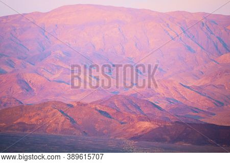 Sunrise Over Barren Mountains Taken At The Mojave Desert In Death Valley, Ca