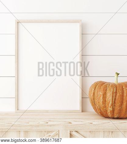 Mockup Frame Close Up With Pumpkins In Interior Background, 3d Illustration
