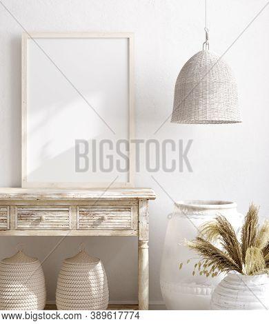 Mock Up Frame In Farmhouse Living Room Interior Background, 3d  Illustration