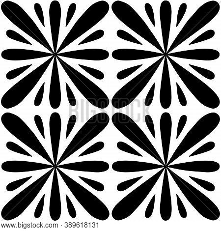 Tile Seamless Pattern. Black And White Geometric Background. Traditional Repeat Ornament. Vector Mon