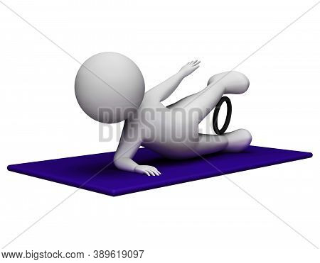 Exercise Character Indicating Getting Fit And Exercises 3d Rendering