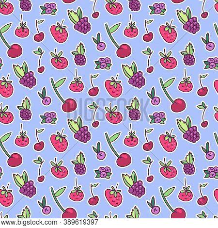 Berries Seamless Pattern. Strawberry, Cherry, Blueberry, Stars, Blackberry. Cute Hand Drawn Elements