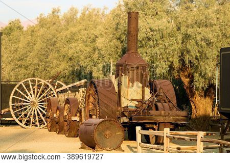 October 5, 2020 In Furnace Creek, Ca:  Vintage Mining Equipment On Display At The Borax Museum In Fu