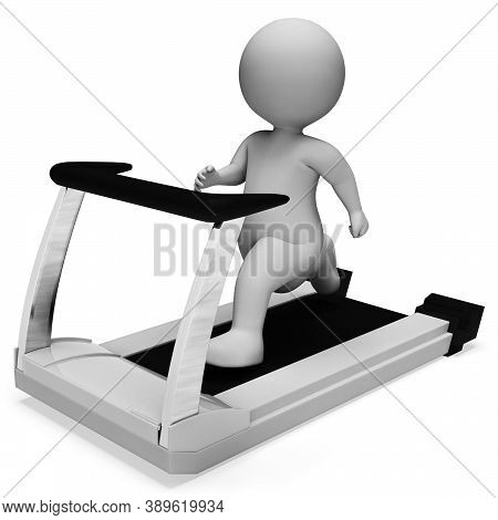 Character Running Showing Get Fit And Sprinting 3d Rendering