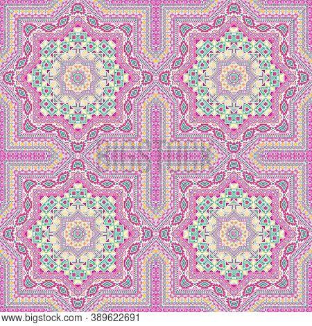 Simple Moroccan Zellige Tile Seamless Pattern. Ethnic Geometric Vector Elements. Textile Print Desig