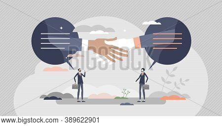 Closing Deal As Business Sale Contract Agreement Moment Tiny Person Concept. Partners Trade Or Purch