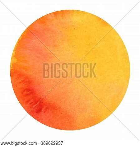 Abstract Vector Watercolor Background Texture In Autumn Colors, Circular Shape, Abstract Sun Drawing