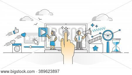 Online Marketing Campaign Tool For Ads And Advertising Monocolor Outline Concept. Ppc Method In Soci