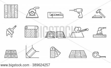 Home Repair Icons Set. Wallpapering And Installing Laminate Flooring Polishing Wooden Floors Laying