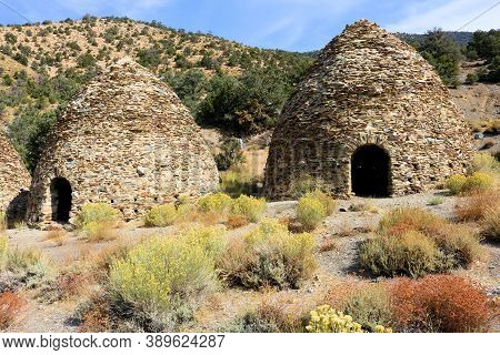 October 5, 2020 In Death Valley, Ca:  Alpine Meadow Surrounding Historical Kilns Which Were Large Ov
