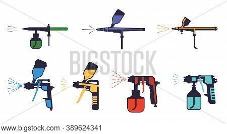 Paint Pistols Set. Sprayers Airbrushing Yellow Red Pulverizers With Nozzles Stylish Wall Art Graffit