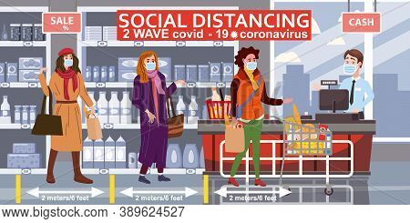 Supermarket Social Distancing Store Counter Cashier And Buyers In Medical Masks, With Cart And Baske