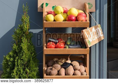 Fresh Fruits And Vegetables On Market Counter With Welcome Signboard. Local Market, Garden Produce,