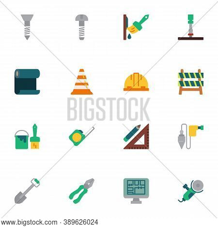 Repair Tool Elements Collection, Construction Tool Flat Icons Set, Colorful Symbols Pack Contains -