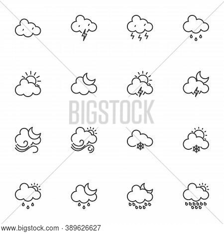 Weather Cloud Line Icons Set, Outline Vector Symbol Collection, Linear Style Pictogram Pack. Signs,